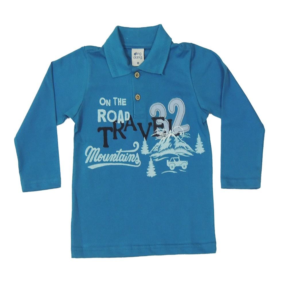 Camisa Polo Infantil Lecimar em Piquet Manga Longa Travel Petróleo ... 252504b6d9170