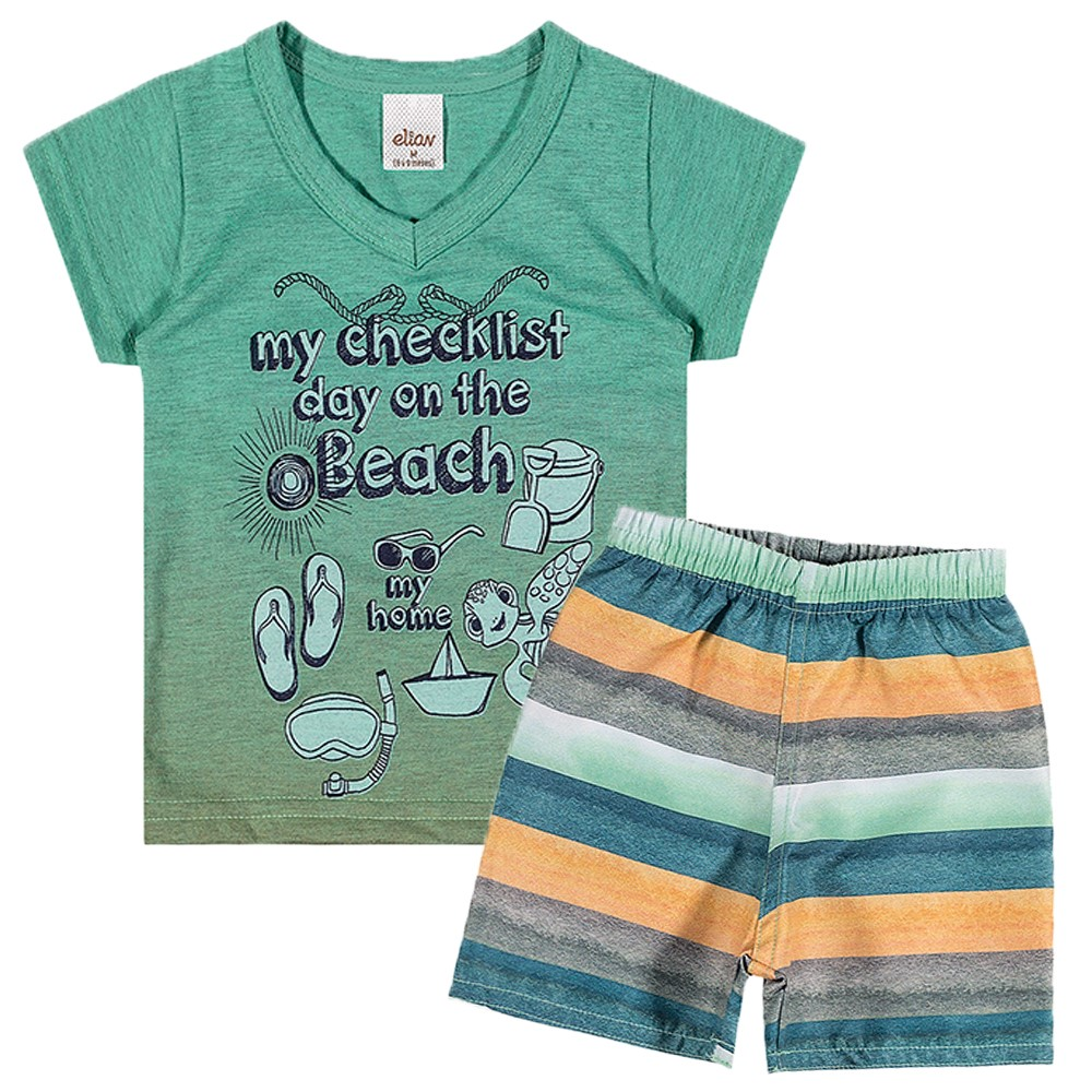 Conjunto Bebê Elian Camiseta e Bermuda Day On The Beach Verde ... fbd5a606933