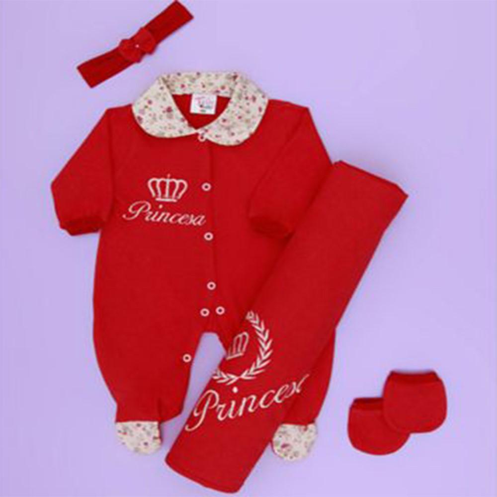 Saída de Maternidade Tieloy Princesa Vermelho Bebê - 04 Peças Malha ... 1e0ffea206a