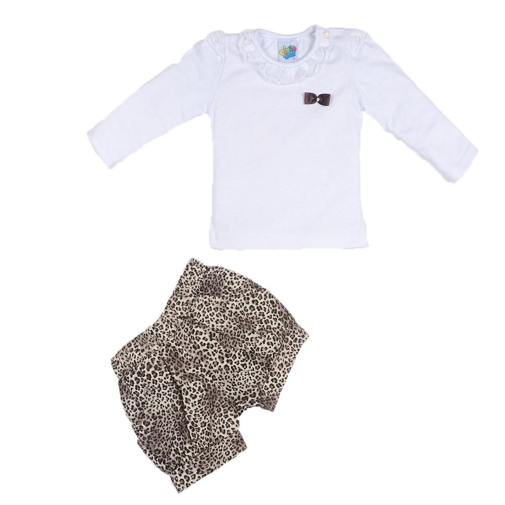 c6f5cfc0 Conjunto Bebê Meia Malha e Tricoline Pingo Doce Camisa Manga Longa e Short
