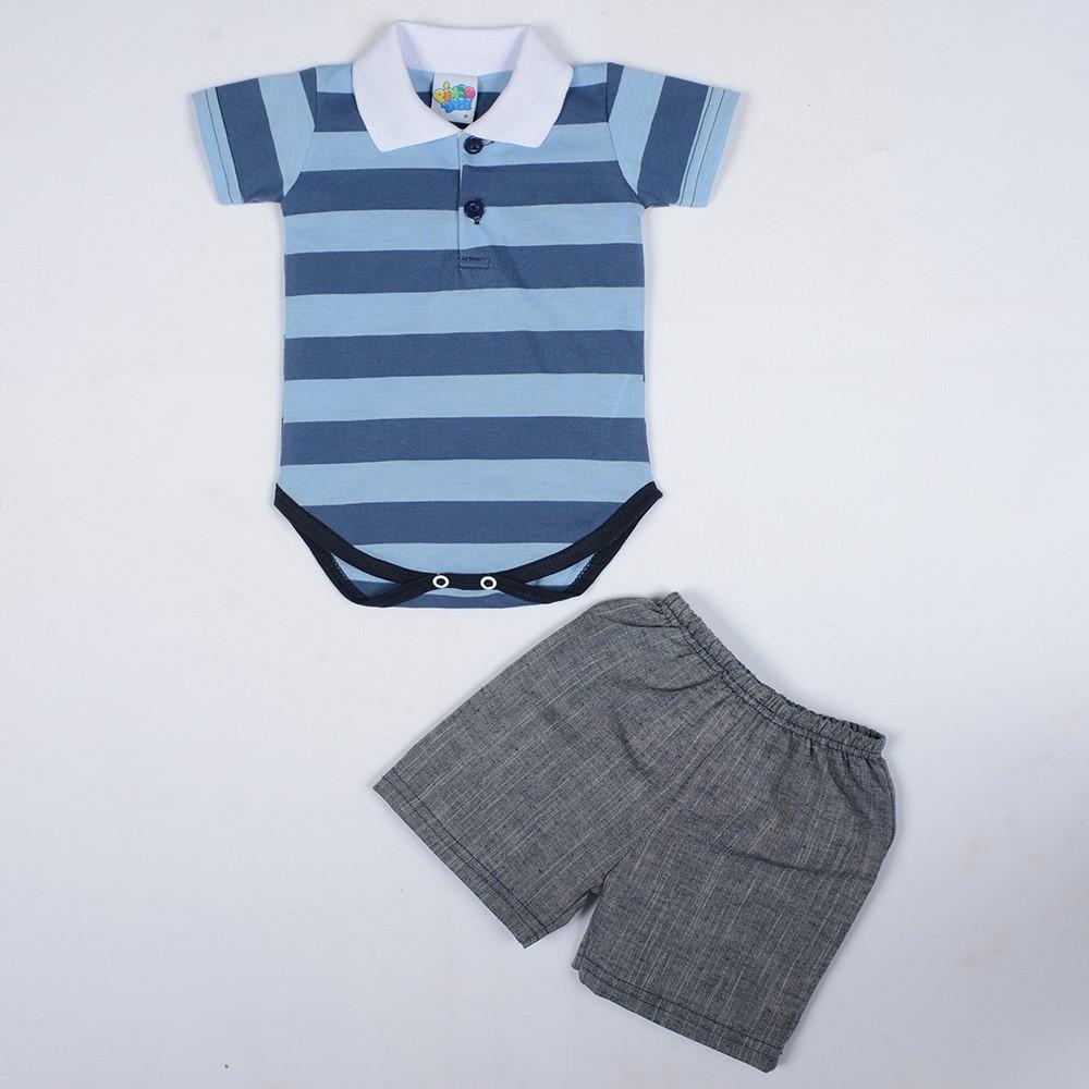 f0aa51633f Conjunto Body Polo Com Short Bebê Pingo Doce Azul - comprar - preço ...