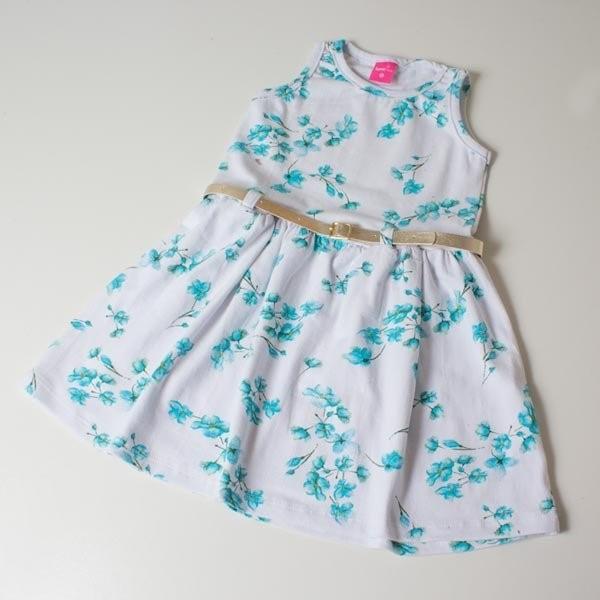 06fc52932110 Vestido Infantil TMX Floral Turquesa 04 a 10 anos - comprar - preço ...