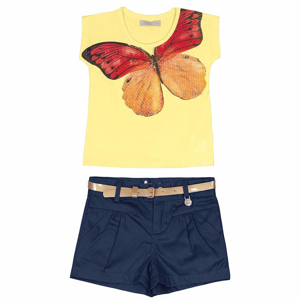 Conjunto Infantil Trick Nick Camisa e Short Jeans Borboleta Amarela 01 a 03  Anos 29b5d03a05615