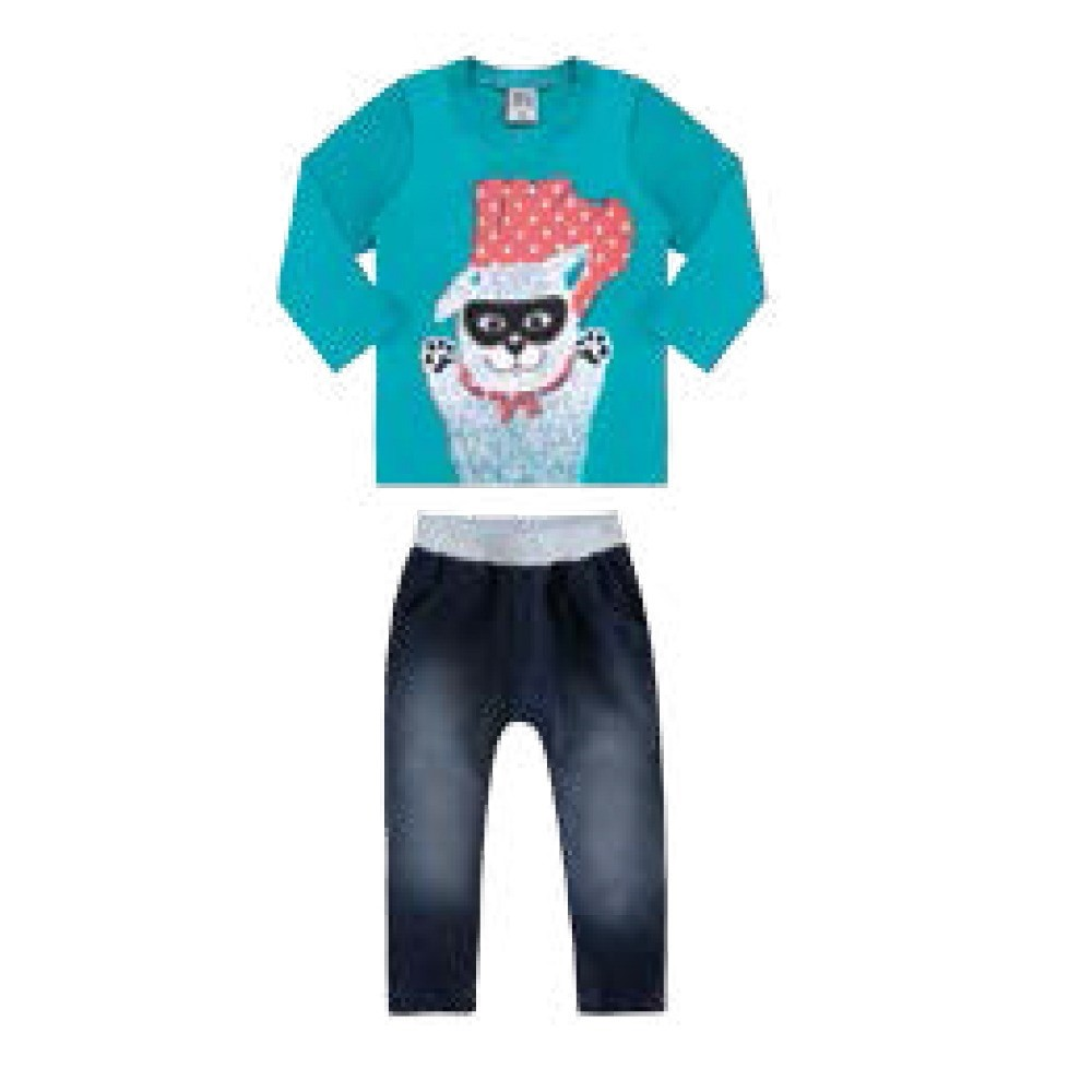 260fd809c Conjunto Infantil 01 A 02 Anos Ding Dang Camisa Meia Malha e Calça jeans  Azul