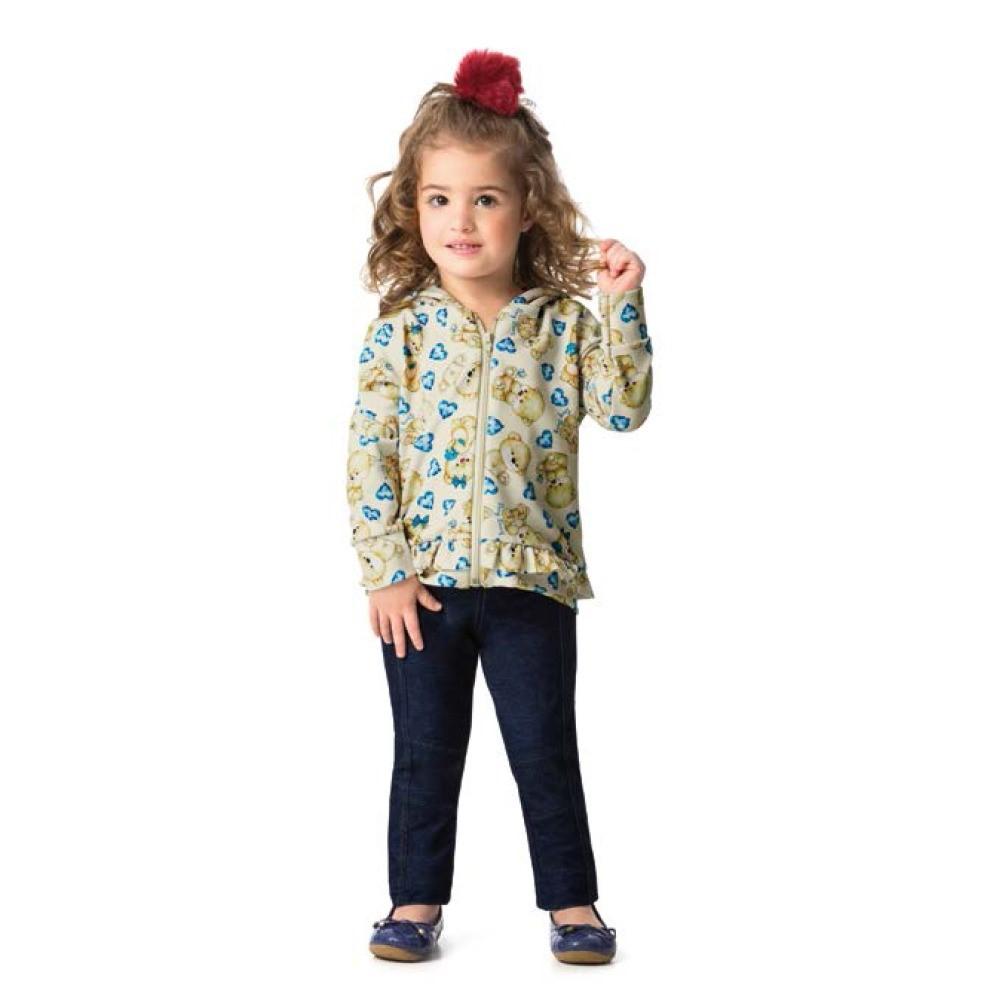 5842735475 Conjunto Infantil 01 A 03 Anos Ding Dang Jaqueta e Calça Jeans Perola