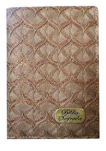 Bíblia Luxo Letra Maior Índice Marrom Brilho