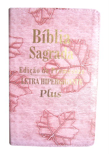 Bíblia Letra Hipergigante Plus Luxo Costura Rosa Folha com Índice