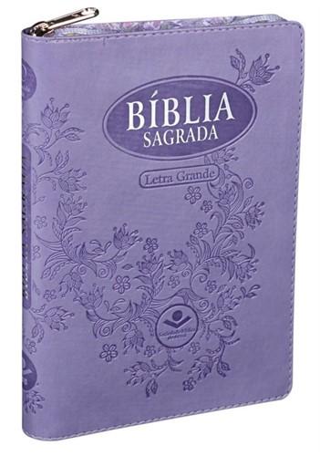 Bíblia Letra Grande Zíper Índice Violeta