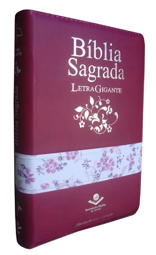 Bíblia Letra Gigante Zíper Com Índice Uva/Flores