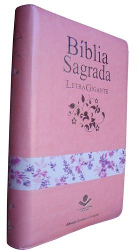 Bíblia Letra Gigante Zíper Índice Rosa/Flores