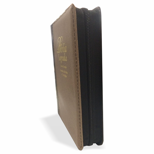 Bíblia Letra Grande Zíper Bicolor Marrom Claro com Preto Costura