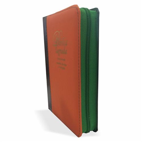 Bíblia Letra Grande Zíper Bicolor Laranja com Verde Escuro