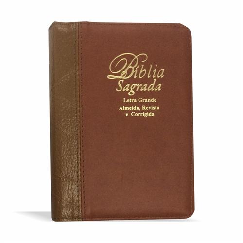 Bíblia Letra Grande Zíper Bicolor Marrom Claro com Caramelo Costura