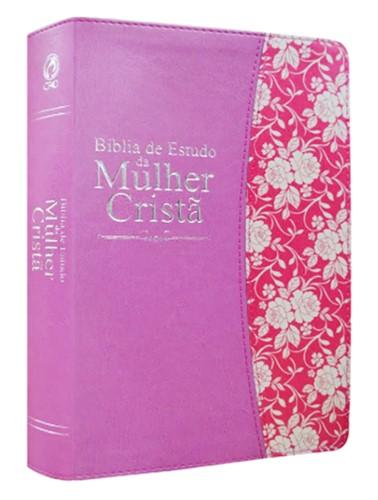 Bíblia de Estudo da Mulher Cristã Grande PU Rosa Revista e Corrigida
