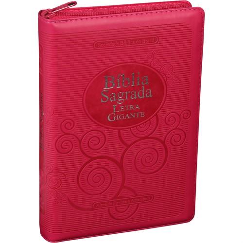 Bíblia Letra Gigante Zíper Índice Pink