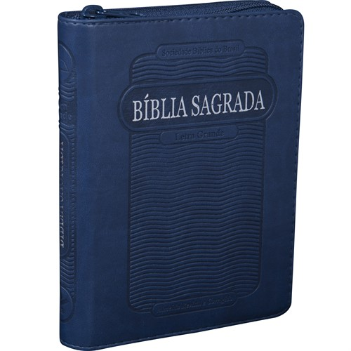 Bíblia Letra Grande Zíper Com Índice Azul