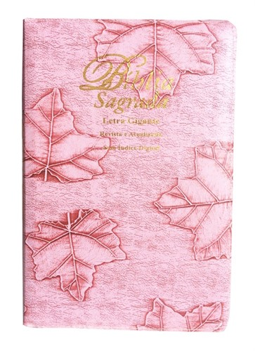 Bíblia Letra Gigante Zíper Costura Cores Revista Atualizada Rosa Folha