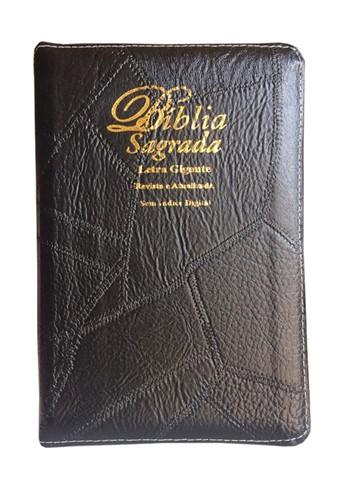 Bíblia Letra Gigante Zíper Costura Cores Revista Atualizada Preto Costurado