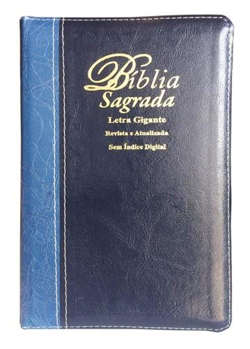 Bíblia Letra Gigante Zíper Bi-Color Revista Atualizada Azul Marinho Liso com Azul Claro Deco