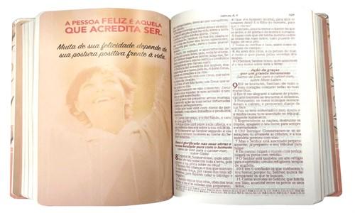 Bíblia Ella de Estudo Evangeliza Semi Luxo Rosa Floral