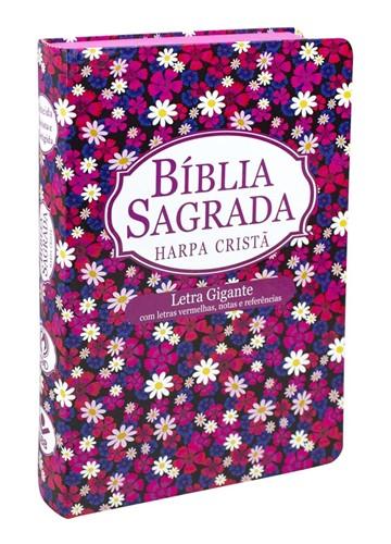 Bíblia Harpa Letra Gigante Semi Flexível Flor Revista e Corrigida