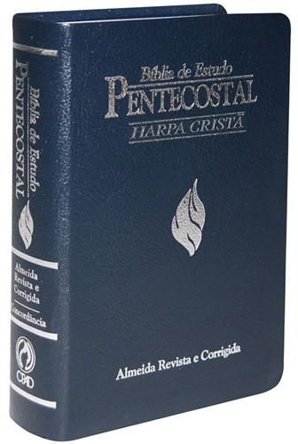 Bíblia De Estudo Pentecostal Média Harpa Azul Luxo
