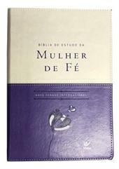 Bíblia de Estudo da Mulher de Fé Luxo Violeta/Bege com Índice