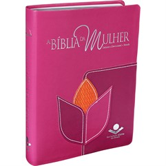 Bíblia Da Mulher Grande Flor Costurada Rosa/Lilás/Laranja