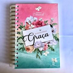 Agenda Permanente Maravilhosa Graça - Grande - Flores Rosa/Azul