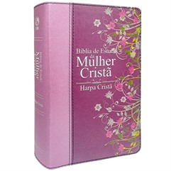 Bíblia de Estudo da Mulher Cristã Rosa - média com Harpa