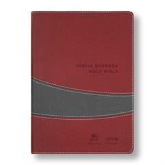 BÍBLIA NVI BILÍNGUE GRANDE LUXO VINHO/CINZA- HOLY BIBLE