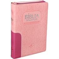 Bíblia Letra Gigante Zíper Com Índice Pink/Rosa