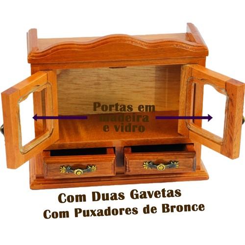 Mini Estante Em Madeira Maciça Para 7 Mini Livros