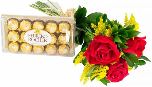 03 rosas + Ferrero 12 Unidades