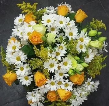 Bouquet Rosas Amarelas e Margaridas