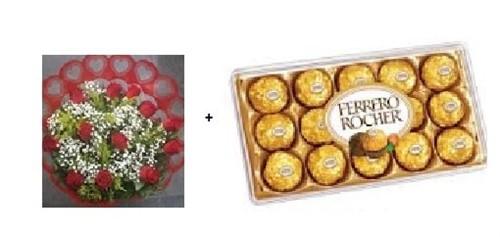 Bouquet 24 rosas + Ferrero Rocher 12 Unidades