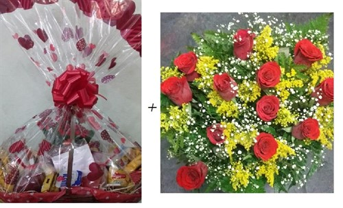 Dueto Amor - Cesta 40 itens + Bouquet 12 rosas vermelhas