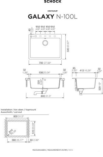 Cuba de cozinha de Quartzo GALAXY N-100L MAGMA