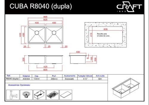 Cuba de cozinha QUADRATO R8040D