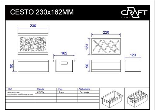 ESCORREDOR DE TALHERES 230 para canal equipado CRAFT