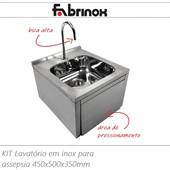 Kit lavatório de inox para assepsia, acionamento joelho, modelo Lav-4550