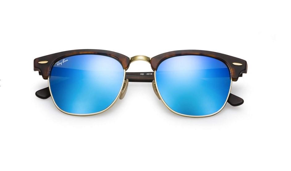5d101112a5281 Óculos de Sol Ray Ban Clubmaster Tartaruga Lente Azul Espelhada