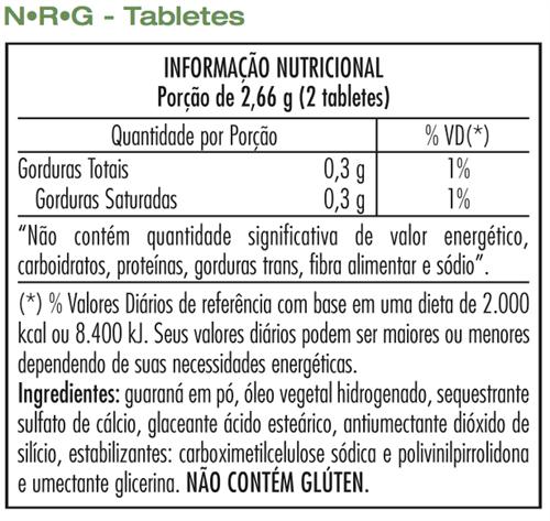 NRG Herbalife- Chá Preto e Guaraná - Tabletes - 60 tabletes